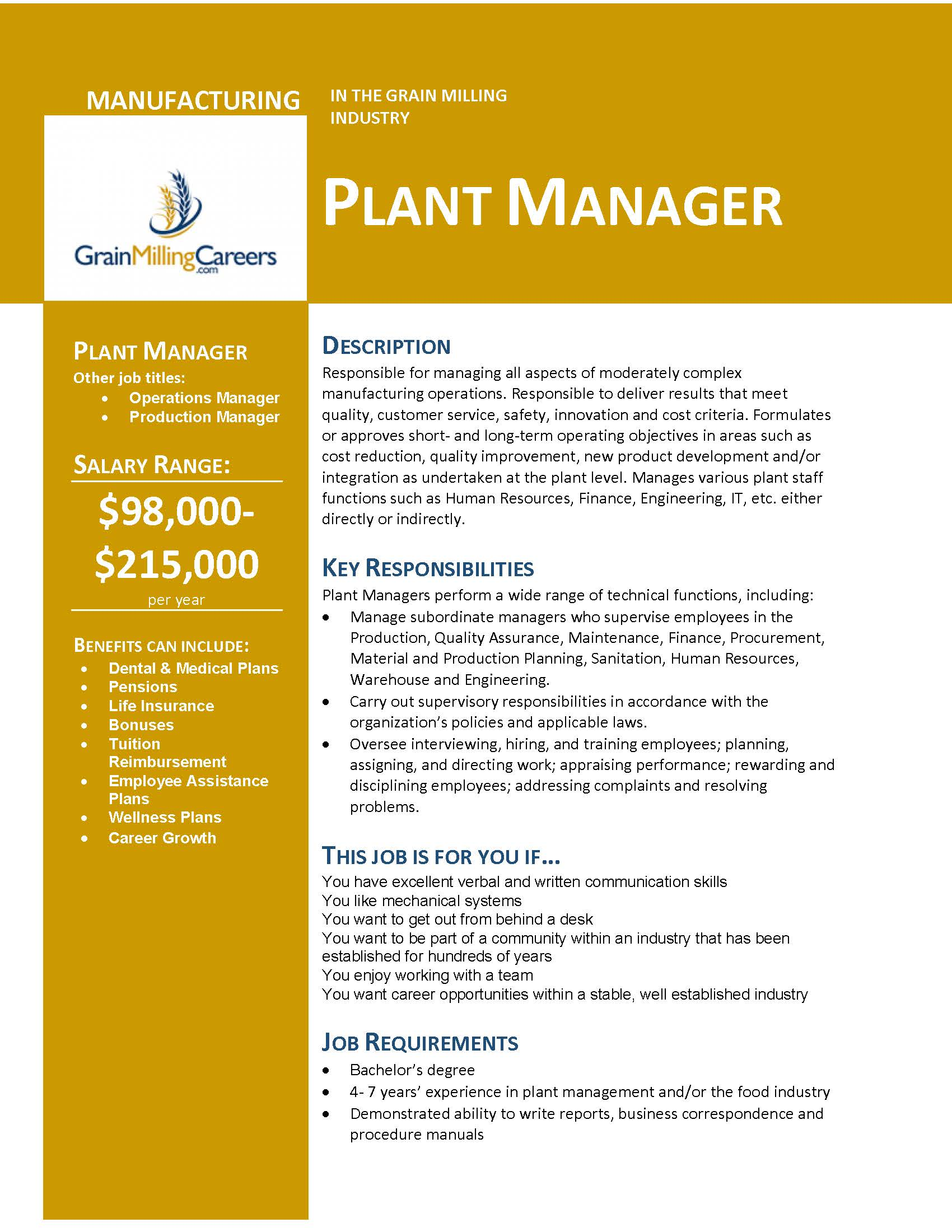 Plant Manager Grain Milling Careers
